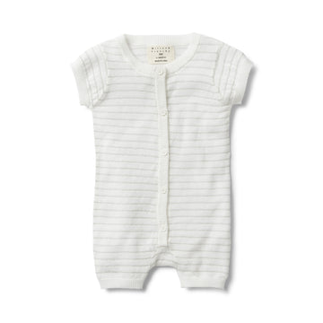 SILVER STRIPE KNITTED SHORT SLEEVE GROWSUIT-GROWSUIT-Wilson and Frenchy