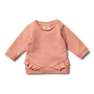Peach Pearl Ruffle Sweat - Wilson and Frenchy