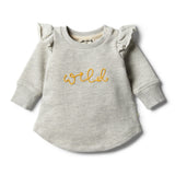 Oatmeal Speckle Ruffle Sweat Top - Wilson and Frenchy