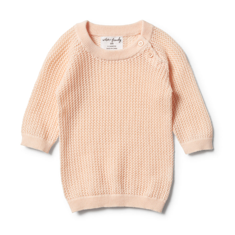 SCALLOP SHELL MESH SUMMER KNIT RAGLAN-JUMPER-Wilson and Frenchy