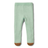 MOSS GREEN KNITTED LEGGING WITH FEET - Wilson and Frenchy