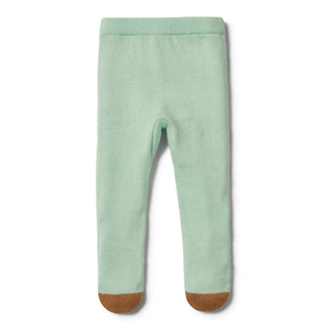 MOSS GREEN KNITTED LEGGING WITH FEET