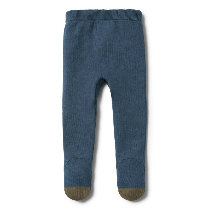 STEEL BLUE KNITTED LEGGING WITH FEET - Wilson and Frenchy