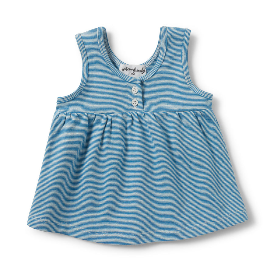 MEDITERRANEAN BLUE STRIPE BUTTONED TANK - Wilson and Frenchy