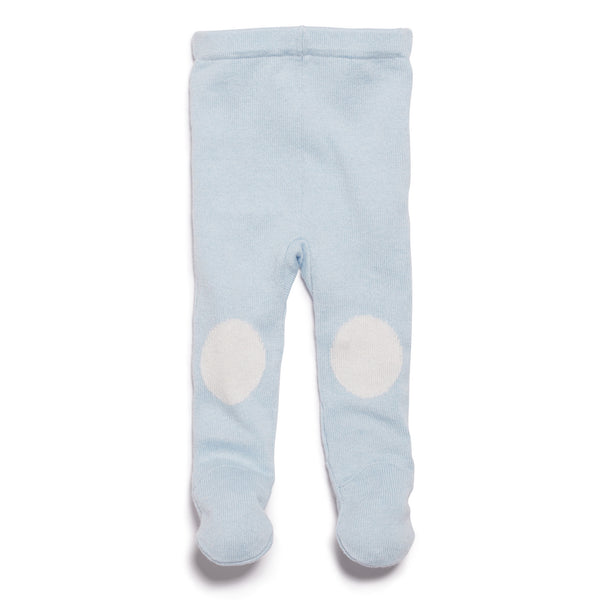 CASHMERE BLUE KNITTED LEGGING WITH FEET