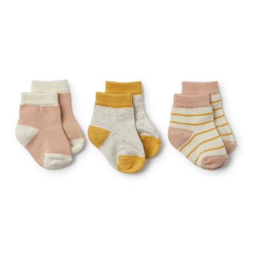 Jojoba, Blush, Fleck 3 Pack Baby Socks