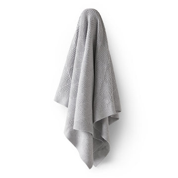 GREY MELANGE SCALLOP KNITTED BLANKET - Wilson and Frenchy