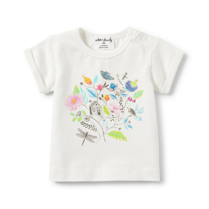 SECRET GARDEN ROLLED CUFF TEE - Wilson and Frenchy