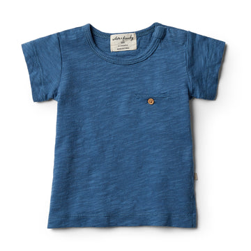 Deep Blue Tee with Pocket - Wilson and Frenchy