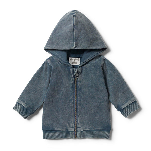 STEEL BLUE HOODED JACKET WITH ZIP - Wilson and Frenchy