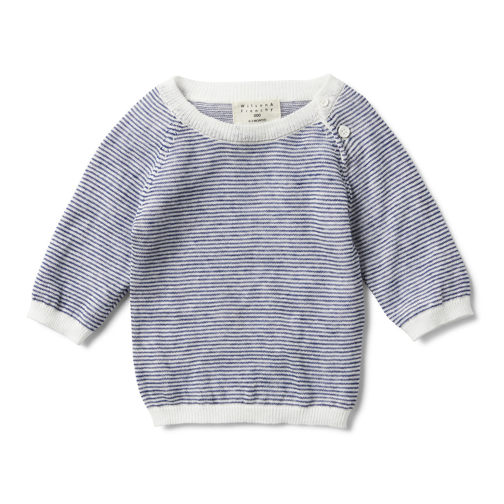 NAVY STRIPE KNITTED JUMPER