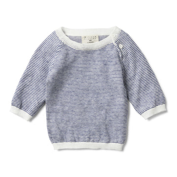 NAVY STRIPE KNITTED JUMPER-KNITTED JUMPER-Wilson and Frenchy