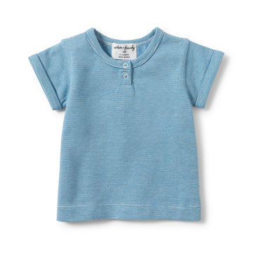 MEDITERRANEAN BLUE STRIPE PLACKET TEE-Wilson and Frenchy