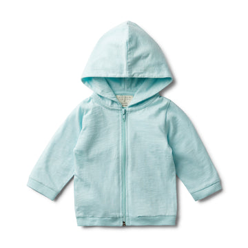 SKY BLUE FLECK HOODED JACKET-COTTON JACKET-Wilson and Frenchy