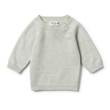 STEEL BLUE SPECKLE KNITTED JUMPER