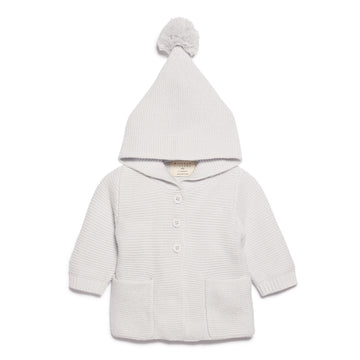 GLACIER GREY KNITTED JACKET WITH HOOD - Wilson and Frenchy