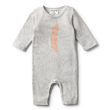 STRAWBERRY FEATHER LONG SLEEVE GROWSUIT - Wilson and Frenchy