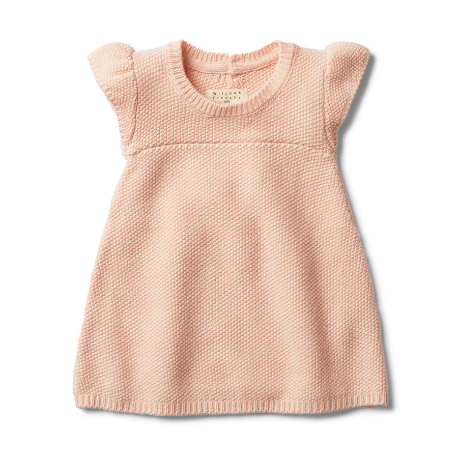PEACHY PINK KNITTED DRESS-KNITTED DRESS-Wilson and Frenchy