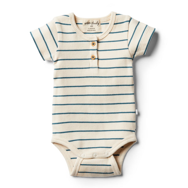 Organic Jungle Green Stripe Bodysuit - Wilson and Frenchy