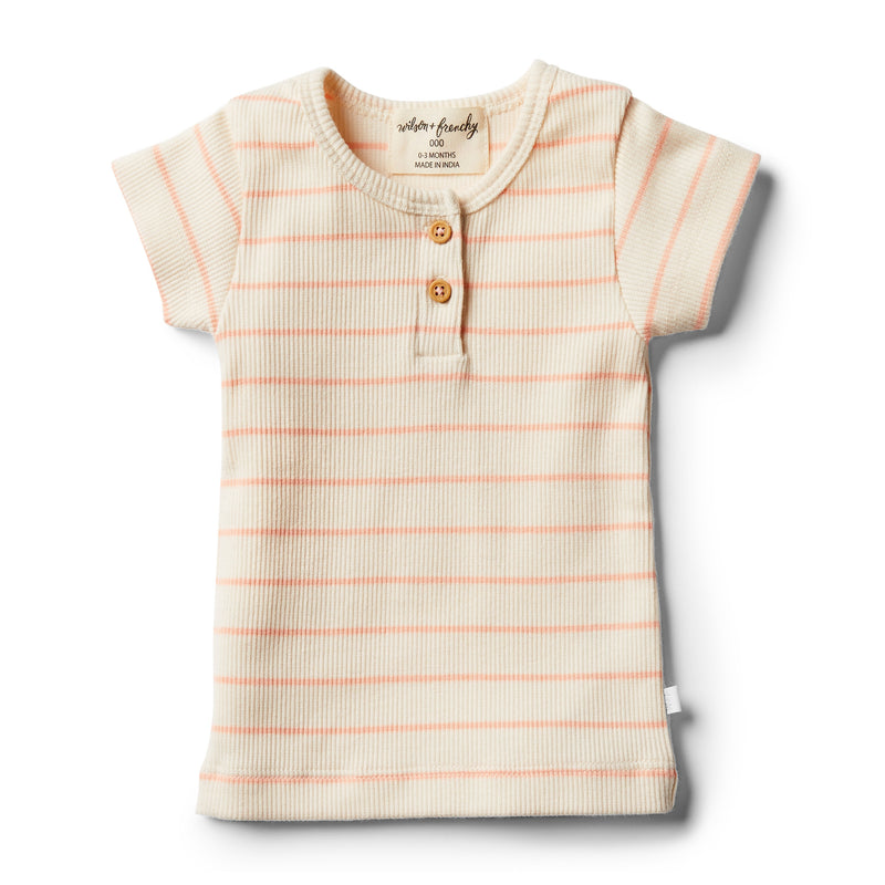 Organic Peach Pearl Stripe Tee - Wilson and Frenchy
