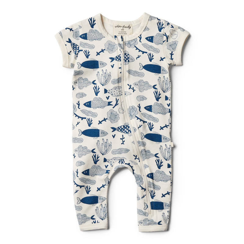 Organic Little Fin Zipsuit - Wilson and Frenchy