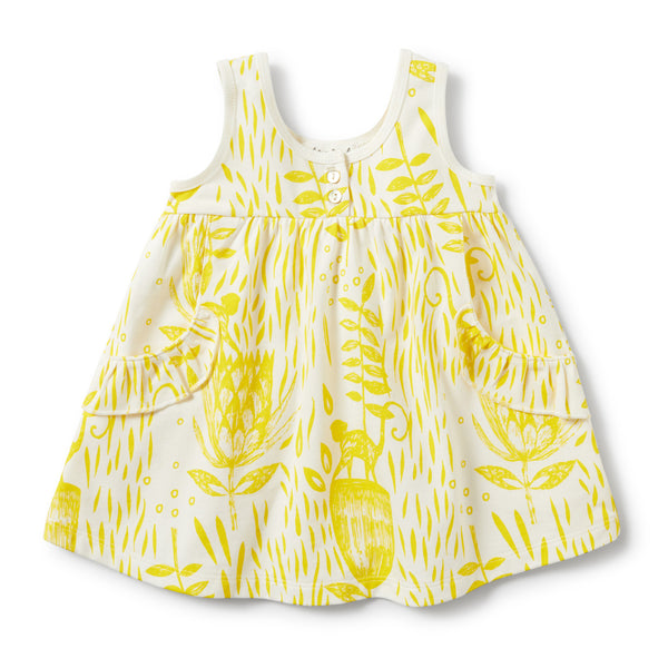 MELLOW YELLOW RUFFLE POCKET DRESS - Wilson and Frenchy