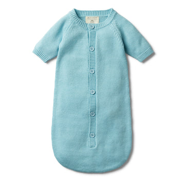 PETIT BLUE KNITTED COCOON SLEEPER-SLEEPING BAG-Wilson and Frenchy