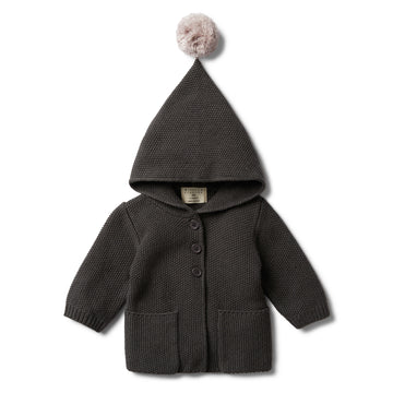 DARK MOON HOODED JACKET WITH POM POM-KNITTED JACKET-Wilson and Frenchy