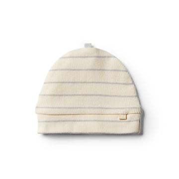 Organic Glacier Grey Stripe Beanie - Wilson and Frenchy