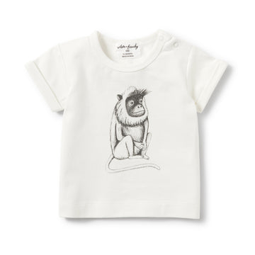 CHARCOAL CHEEKY MONKEY ROLLED CUFF TEE-T-SHIRT-Wilson and Frenchy