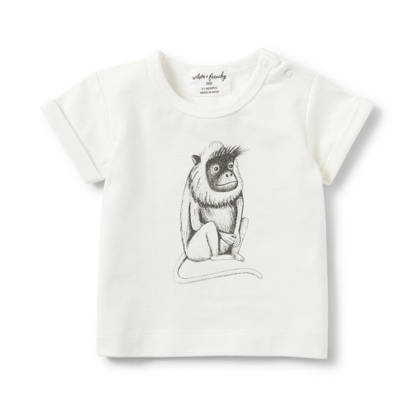 CHARCOAL CHEEKY MONKEY ROLLED CUFF TEE - Wilson and Frenchy