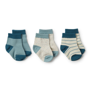 Jungle Green, Sage, Fleck 3 Pack Baby Socks