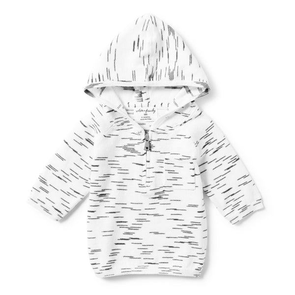 CHARCOAL BLACK SPACEDYE ZIPPED HOODIE - Wilson and Frenchy