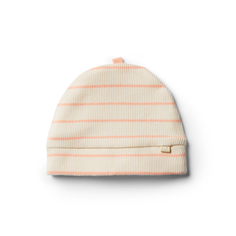 Organic Peach Pearl Stripe Beanie - Wilson and Frenchy