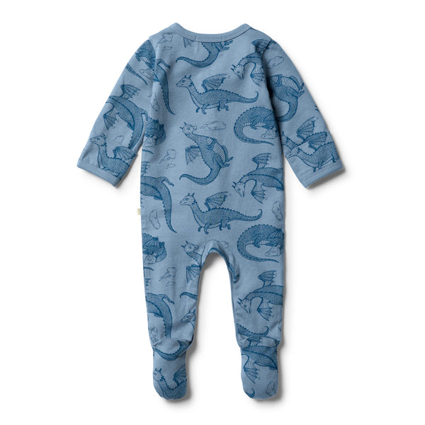 Organic Little Dragon Henley Growsuit - Wilson and Frenchy
