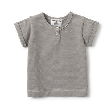 CHARCOAL STRIPE PLACKET TEE-T-SHIRT-Wilson and Frenchy