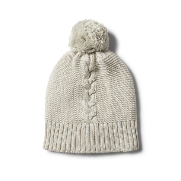 ICE GREY CABLE KNIT HAT WITH POM POM - Wilson and Frenchy