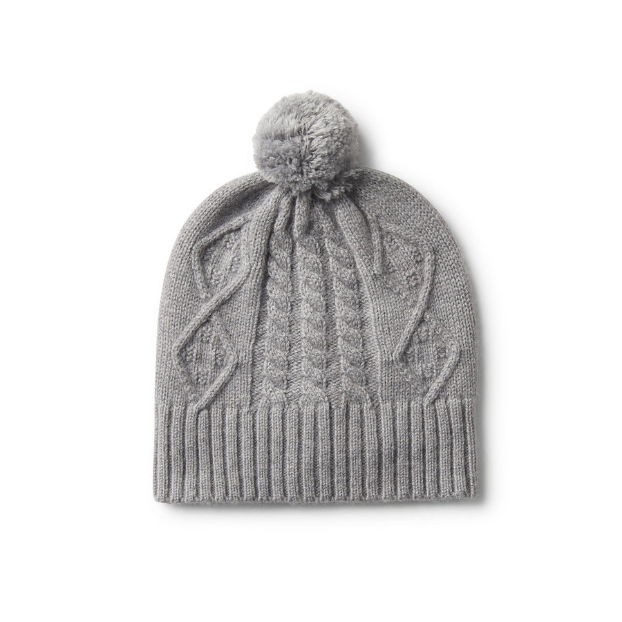 LUXE CABLE KNIT HAT WITH POM POM