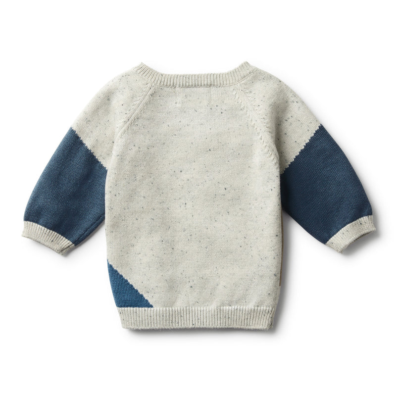 STEEL BLUE SPECKLE JACQUARD KNITTED JUMPER - Wilson and Frenchy