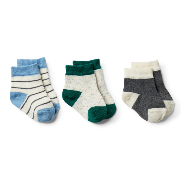 Storm Grey, Faded Denim, Fern-3 Pack Baby Socks - Wilson and Frenchy