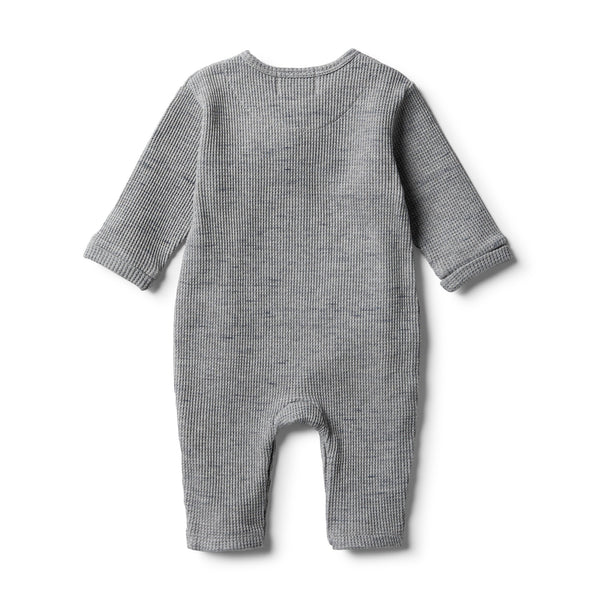 Cloud Grey Waffle Slouch Growsuit - Wilson and Frenchy