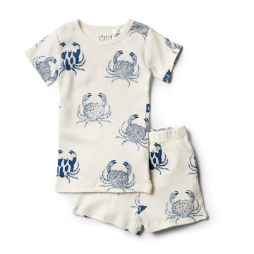Organic Monsieur Crab Short Sleeve Pajama Set - Wilson and Frenchy