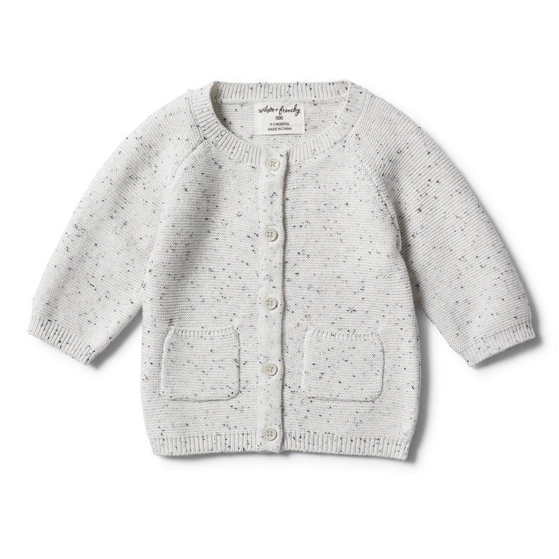 GREY SPECKLE KNITTED CARDIGAN - Wilson and Frenchy