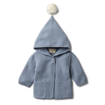DUSTY BLUE HOODED JACKET WITH POM POM - Wilson and Frenchy