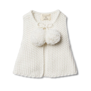 CLOUD KNITTED VEST WITH POM POMS - Wilson and Frenchy