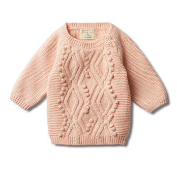 PEACHY PINK CABLE KNITTED POM POM JUMPER-KNITTED JUMPER-Wilson and Frenchy