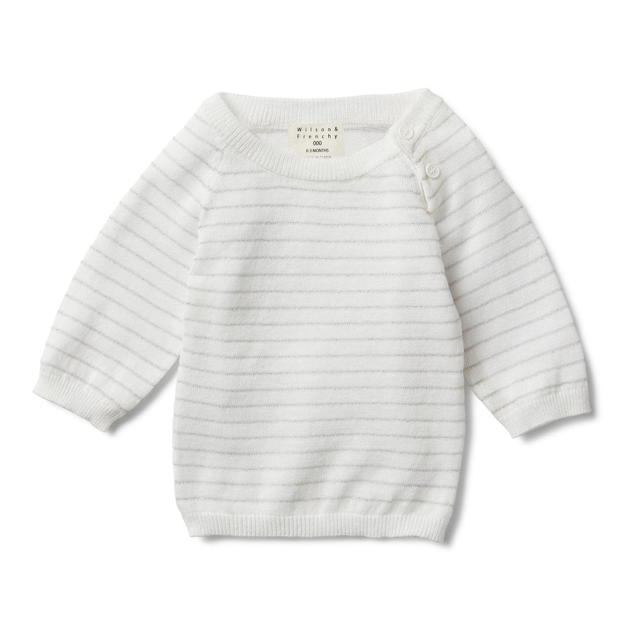 SILVER STRIPE KNITTED JUMPER-KNITTED JUMPER-Wilson and Frenchy
