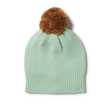 MOSS GREEN KNITTED HAT WITH POM POM
