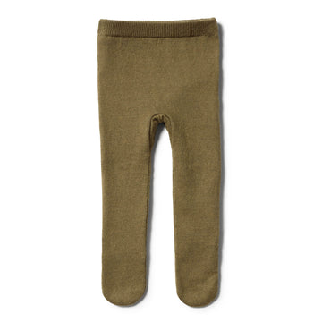 OLIVE KNITTED LEGGING WITH FEET