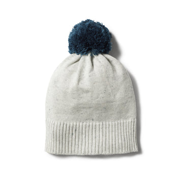 STEEL BLUE SPECKLE KNITTED HAT POM POM